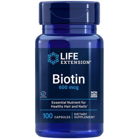 Biotin 600 mcg 100 capsules promotes healthy hair & nails