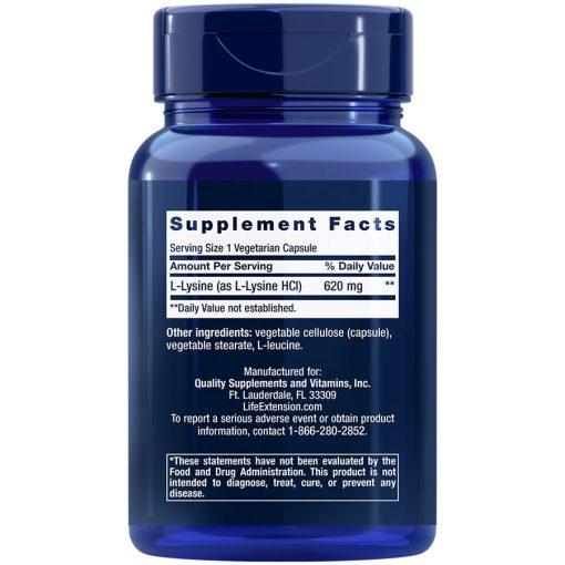 L-Lysine 620 mg, 100 vegetarian capsules Supplement Facts