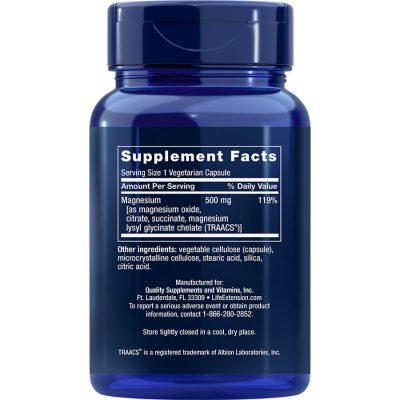 Magnesium Caps 500 mg 100 vegetarian capsules supplement facts