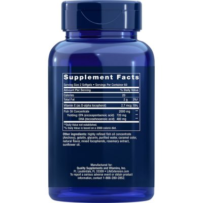 Life Extension Mega EPA/DHA 120 softgels supplement facts