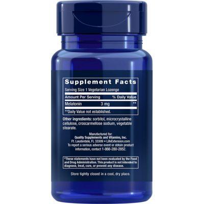Melatonin 3 mg 60 lozenges supplement facts