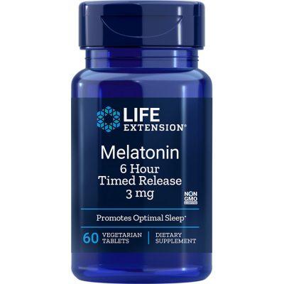 Melatonin 6 Hour Timed Release 3 mg 60 vegetarian tablets