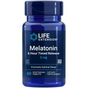 Melatonin 6 Hour Timed Release 3 mg supplement promoting optimal sleep & cellular health