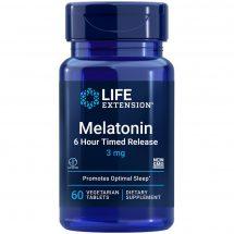 Melatonin 6 Hour Timed Release 3 mg supplement promoting optimal sleep & cellular health