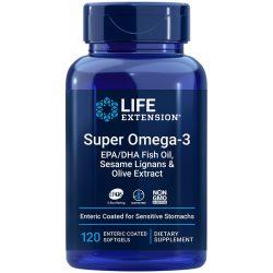 Super Omega-3 EPA/DHA Fish Oil, Sesame Lignans & Olive Extract, 120 enteric-coated softgels