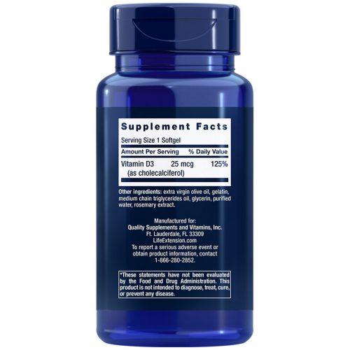 Vitamin D3 250 softgels Item 01751 supplement facts