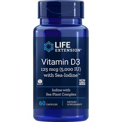 Vitamin D3 with Sea-Iodine 5000 IU 60 capsules