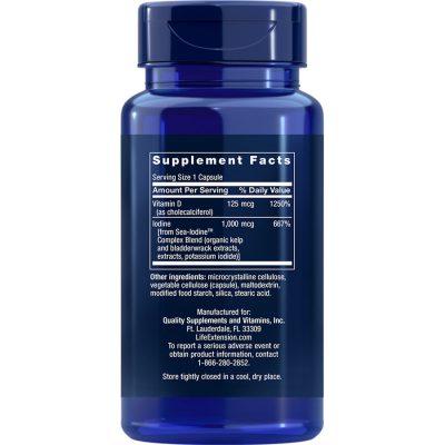 Vitamin D3 with Sea-Iodine 5000 IU 60 capsules supplement facts