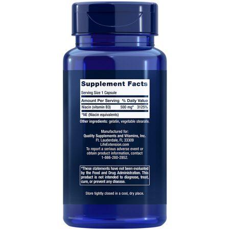 Vitamin B3 Niacin, 500 mg, 100 capsules Supplement Facts