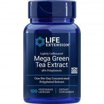 lightly caffeinated Mega Green Tea Extract 100 vegetarian capsules
