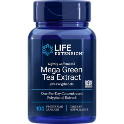 lightly caffeinated Mega Green Tea Extract 100 vegetarian capsules