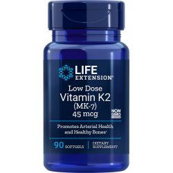 Vitamin K2 Menaquinone-7 MK-7 Low-Dose 45 mcg 90 softgels