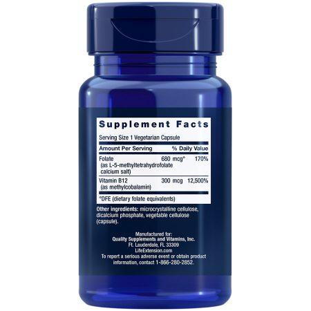 BioActive Folate & Vitamin B12 vegetarian capsules Supplement Facts