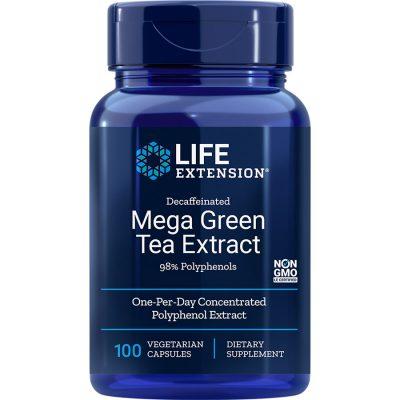 Decaffeinated Mega Green Tea Extract 100 vegetarian capsules