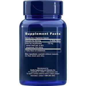 Decaffeinated Mega Green Tea Extract 100 vegetarian capsules supplement facts