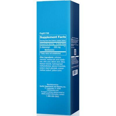 SAMe S-adenosylmethionine 200 mg 30 enteric coated tablets supplement facts